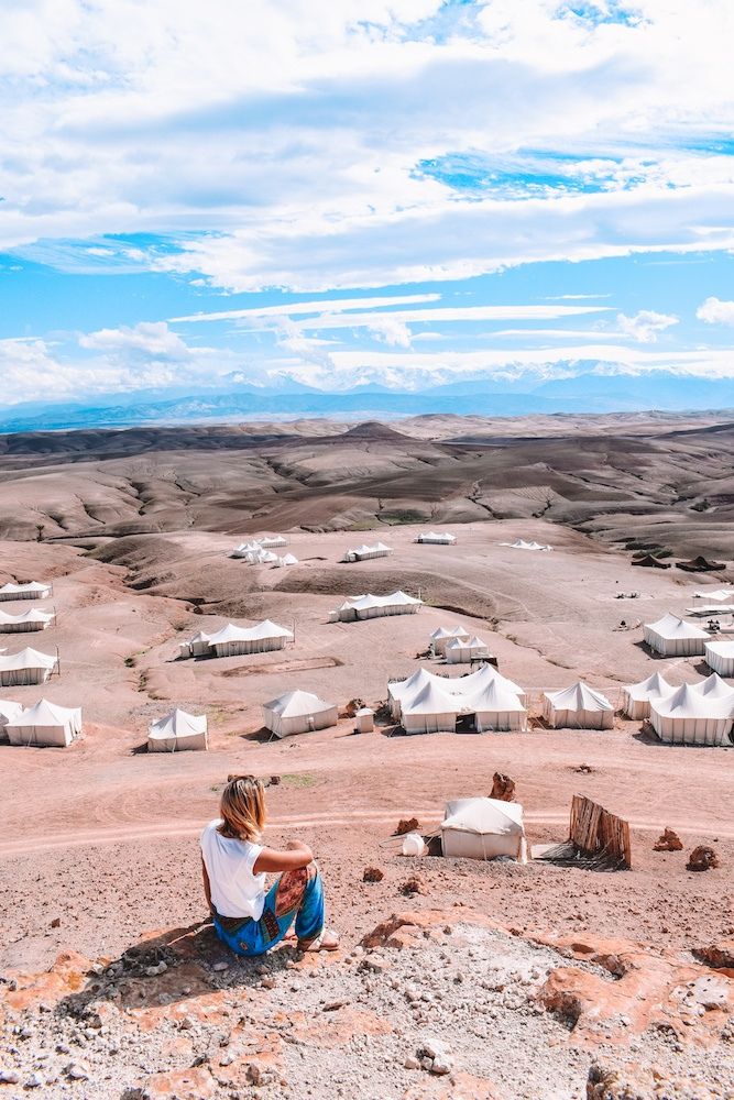 Enjoying the view over Scarabeo Camp and the Agafay Desert