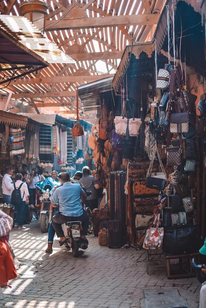The narrow alleys of the Medina of Marrakech, Morocco
