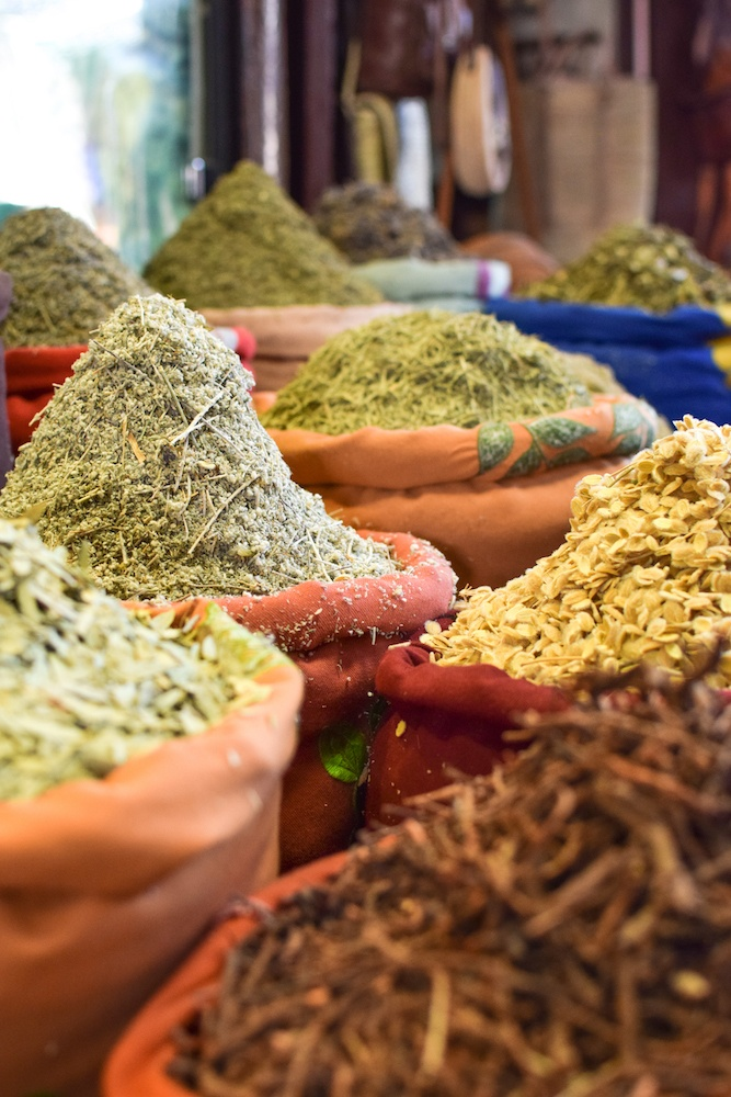 A spice selection in the souks of the Medina of Marrakech, Morocco