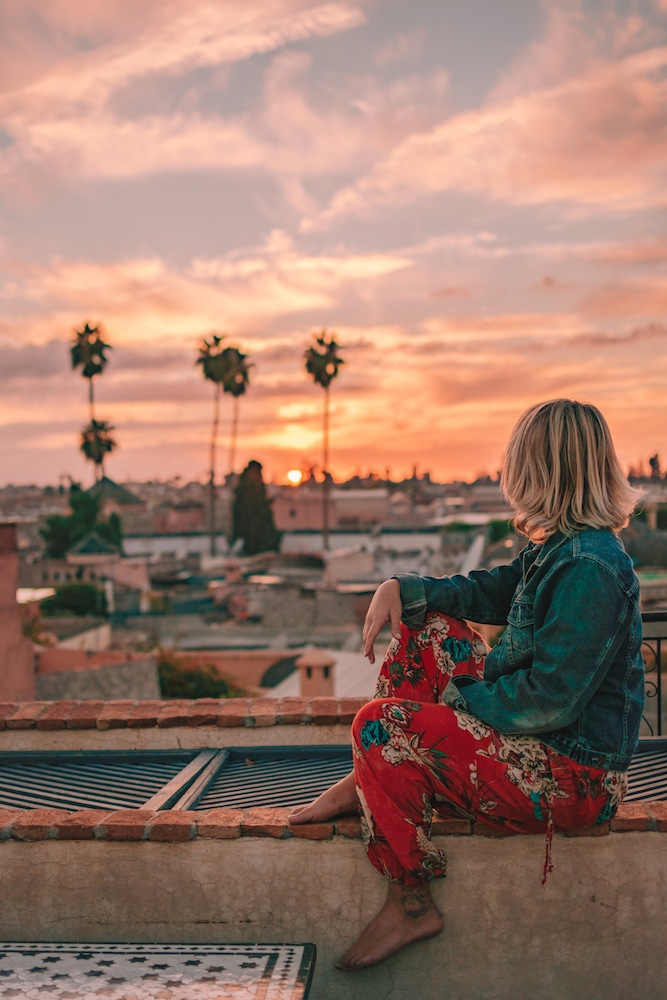 Watching the sunset over the Medina from the rooftop of Riad Star, Marrakech
