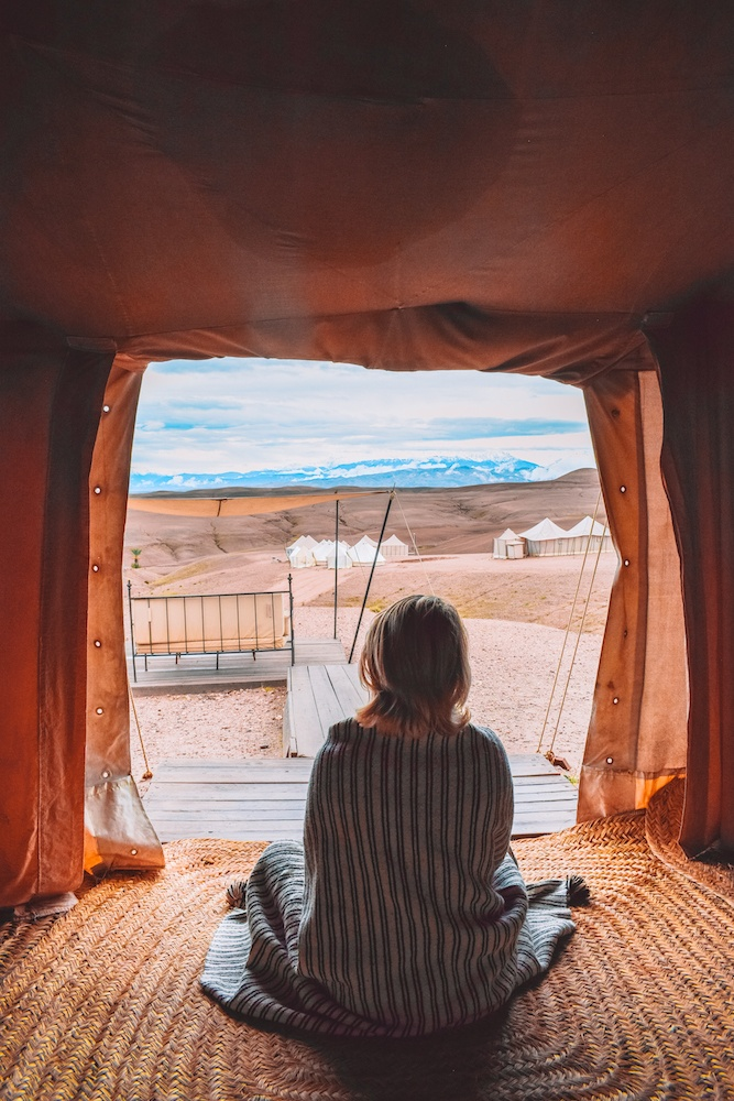Waking up in the Agafay desert at Scarabeo camp, Morocco
