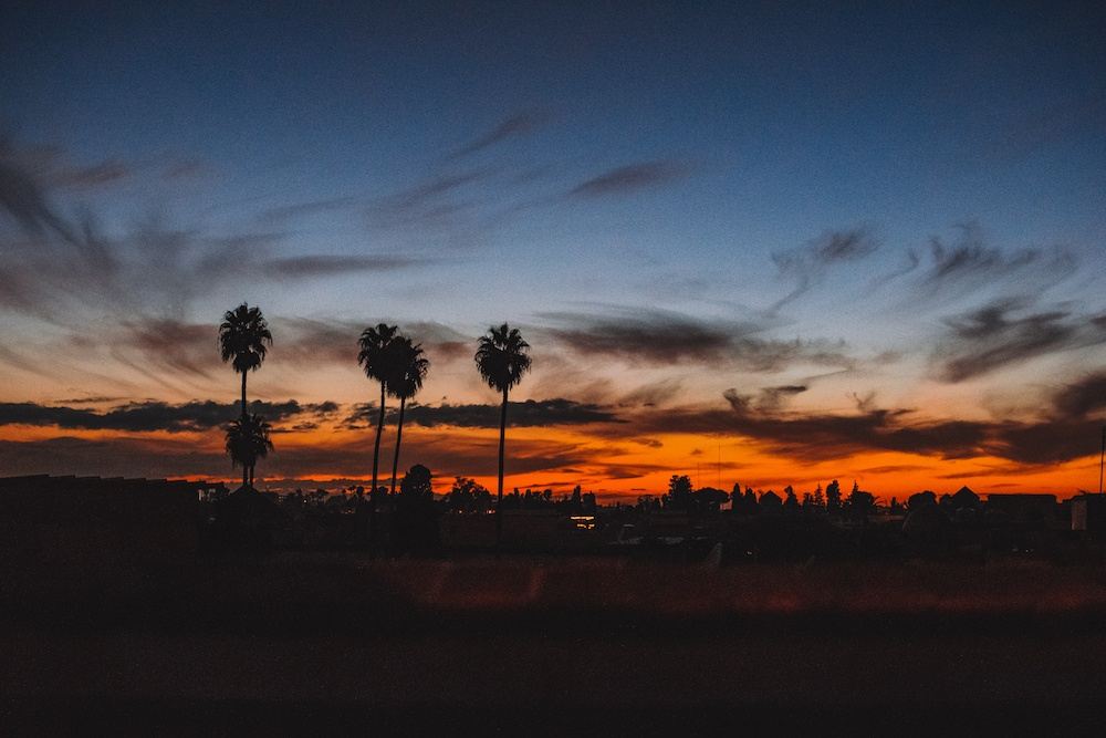 Sunset over Marrakech in Morocco