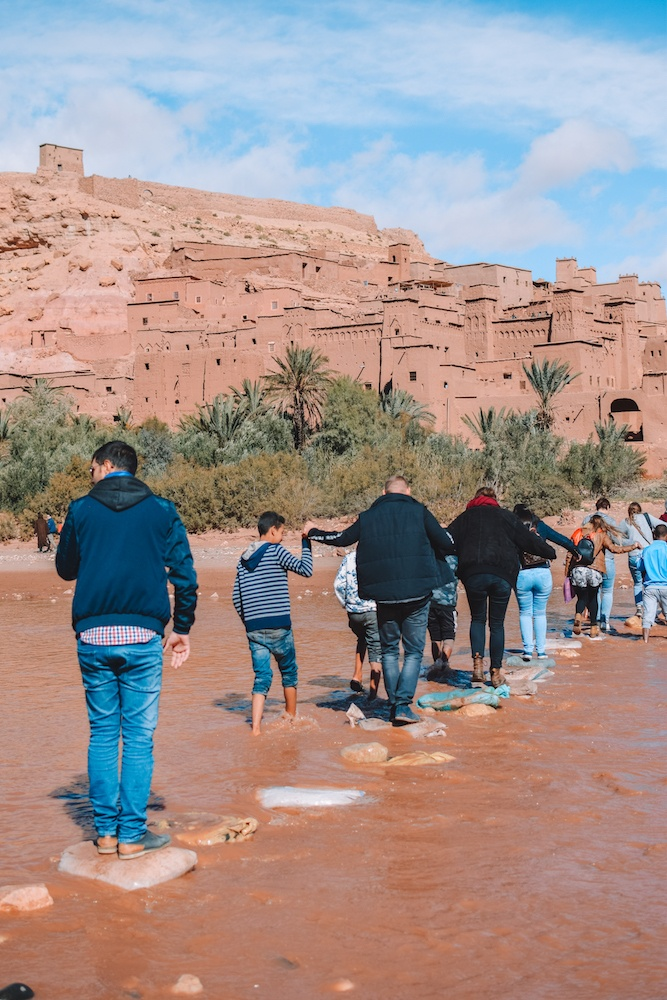Crossing the river to Ksar Ait Ben Haddou in Morocco