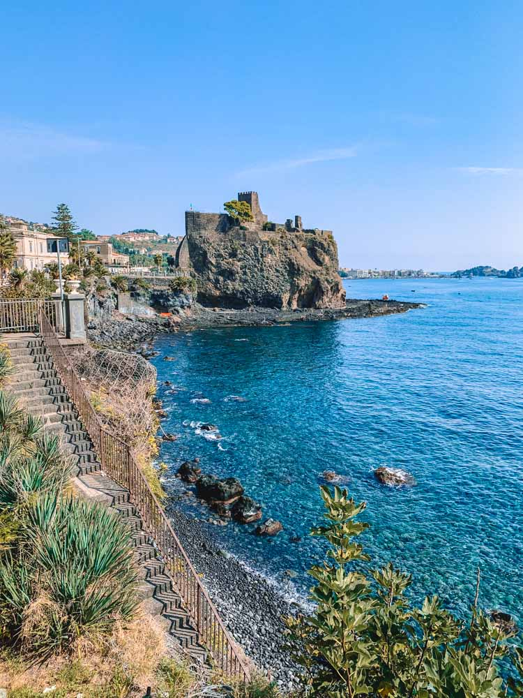 The beautiful castle and seaside view of Acicastello