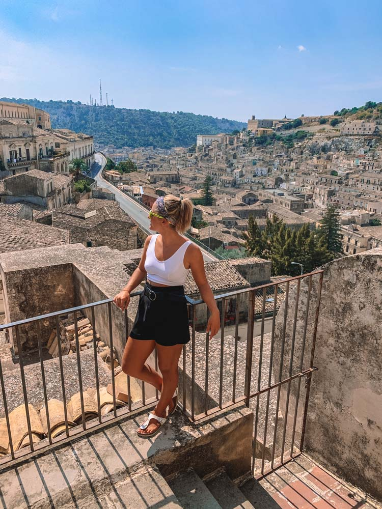 Enjoying the views over Modica from the cathedral belltower