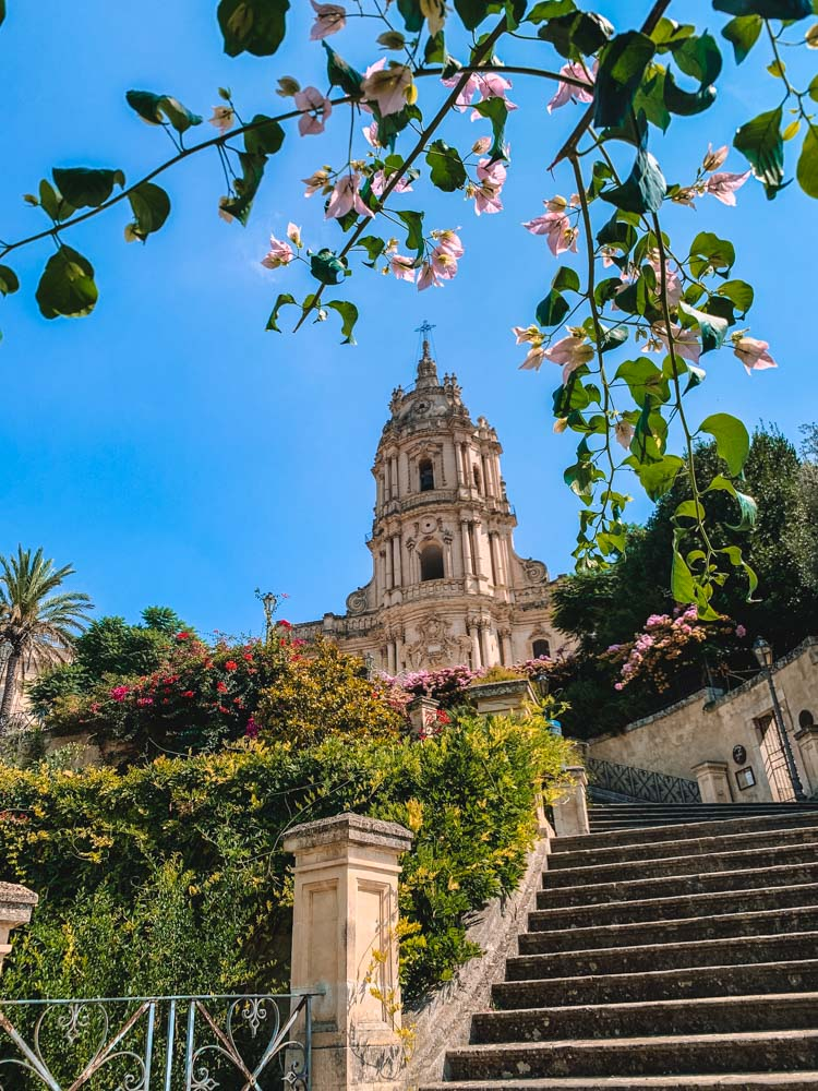 The staircase leading up to the cathedral of Modica