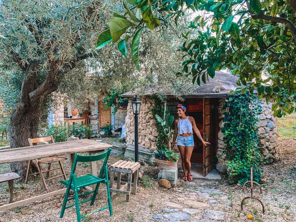 Ari by the stone hut we slept in at Masseria Usambrogia in Noto