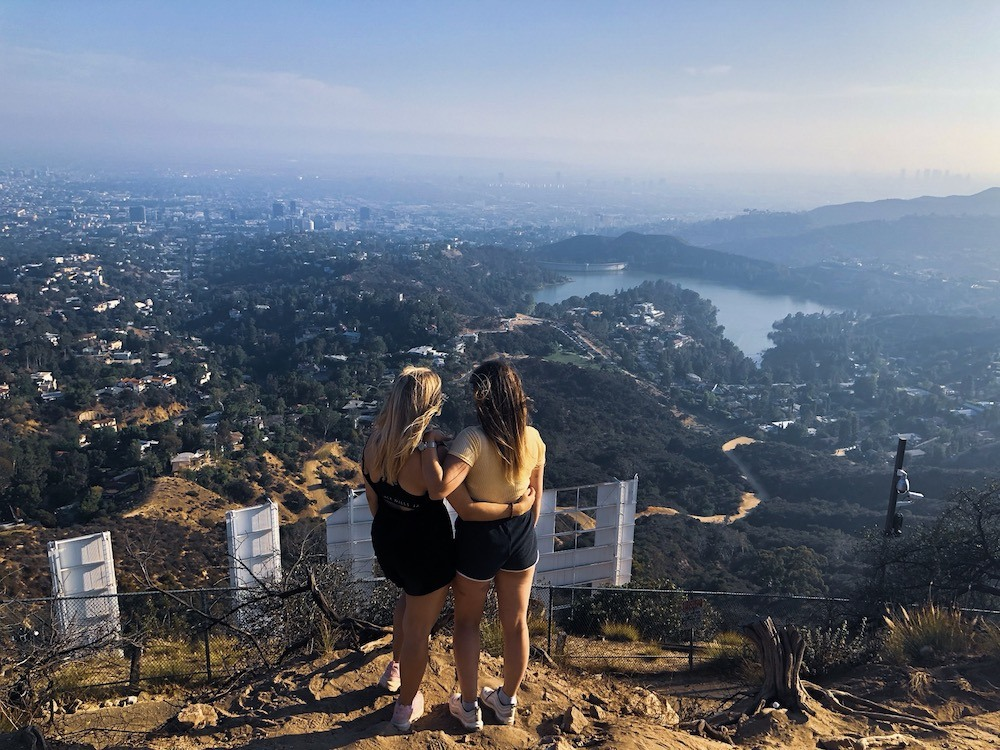 The view over Los Angeles from behind the Hollywood sign