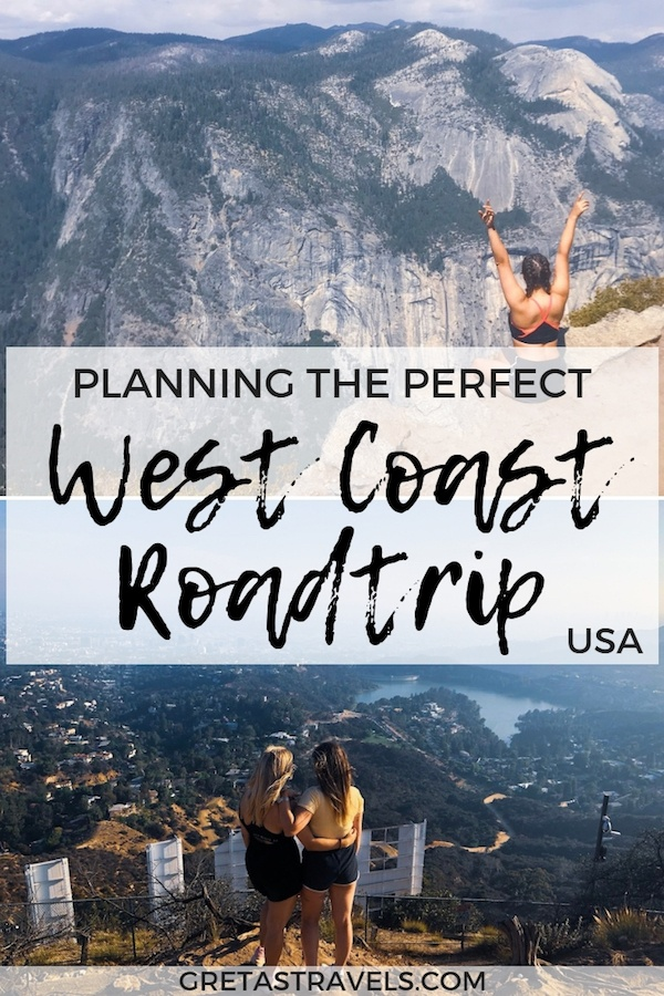 USA West Coast road trip photo collage with text over it