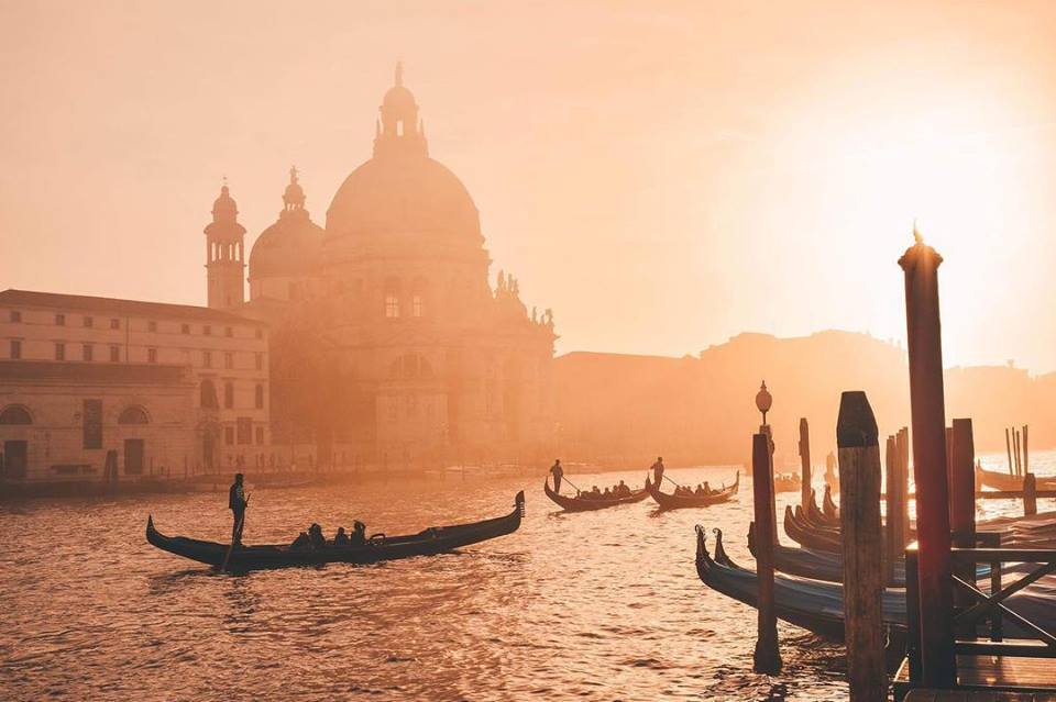 Sunset in Venice, Italy, a popular Mediterranean cruise destination