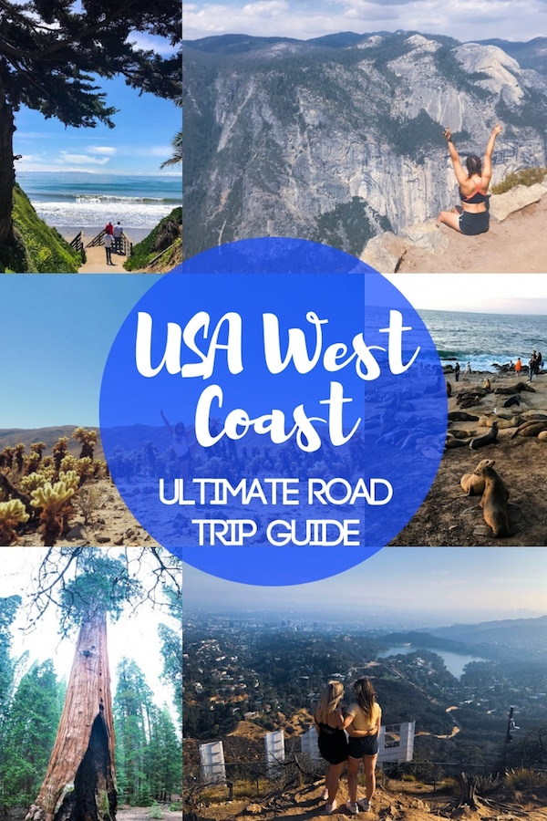 USA West Coast road trip photo collage with text