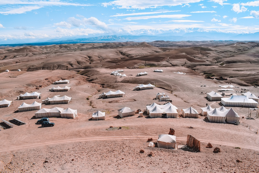 View over Scarabeo Camp in the Agafay Desert, Morocco