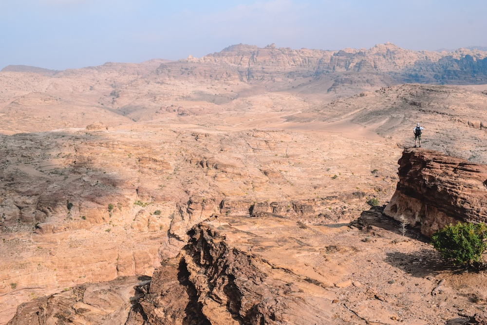 Enjoying the views on the hike from Little Petra to Petra