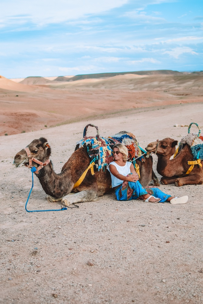 Camel ride in the Agafay Desert, Morocco