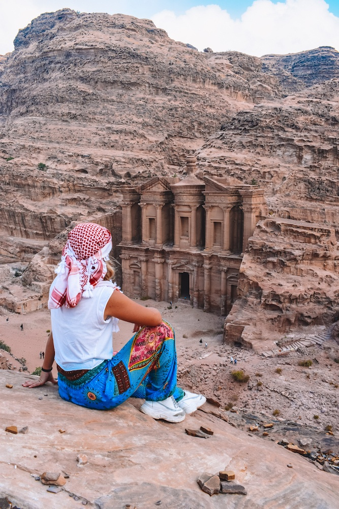 The best view over the Monastery of Petra, Jordan