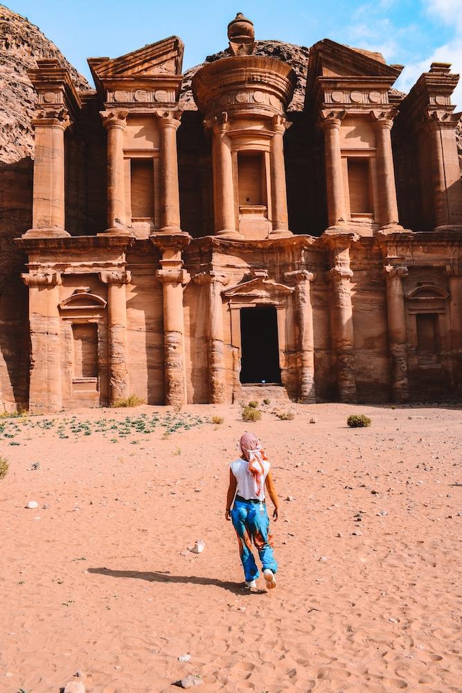 Admiring the Monastery of Petra, Jordan