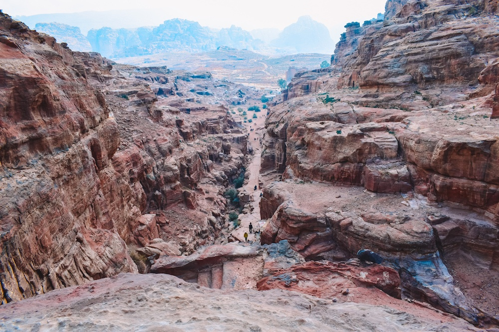 Canyon views over Petra from the top of the 800 steps that lead to the Monastery