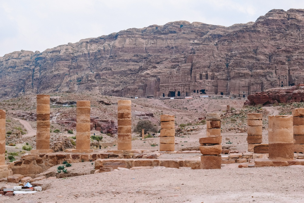 The Colonnadet in Petra with the Royal Tombs in the background