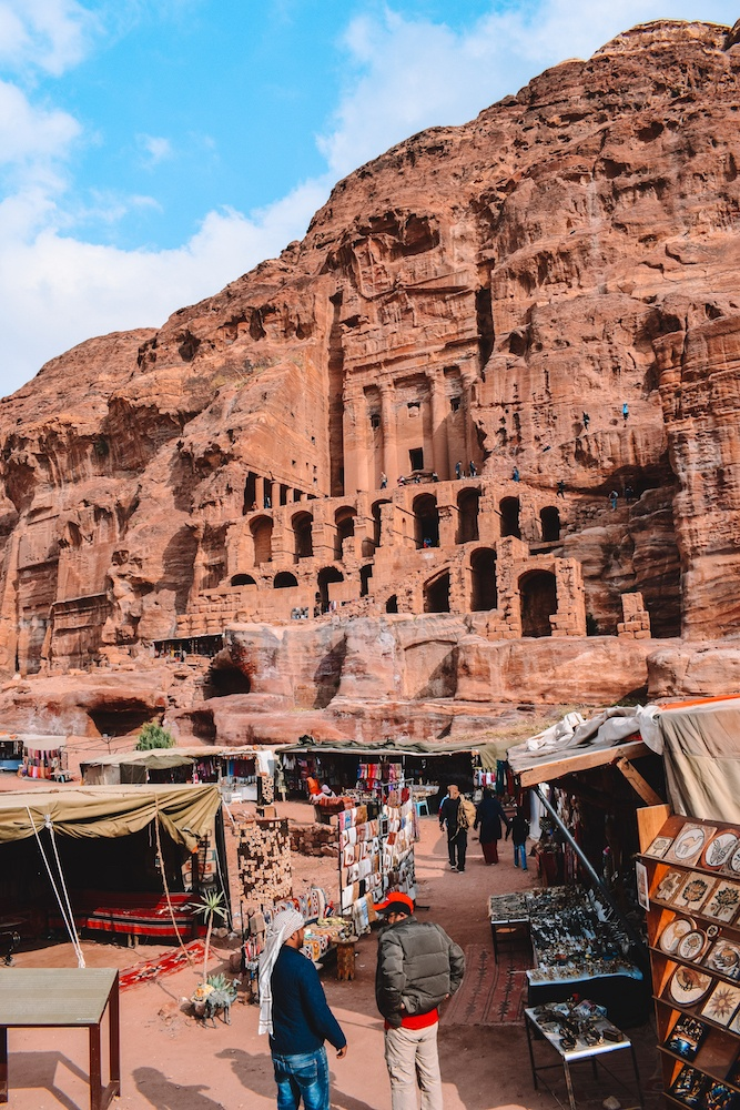 One of the Royal Tombs in Petra and the souvenir stalls below it