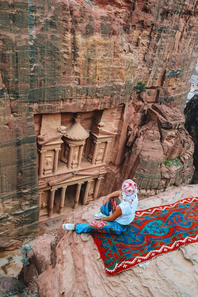 View of the Treasury of Petra from above, Jordan