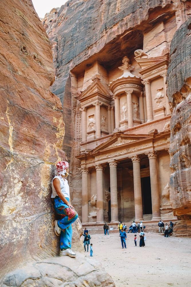 Admiring the beauty of the Treasury in Petra, Jordan