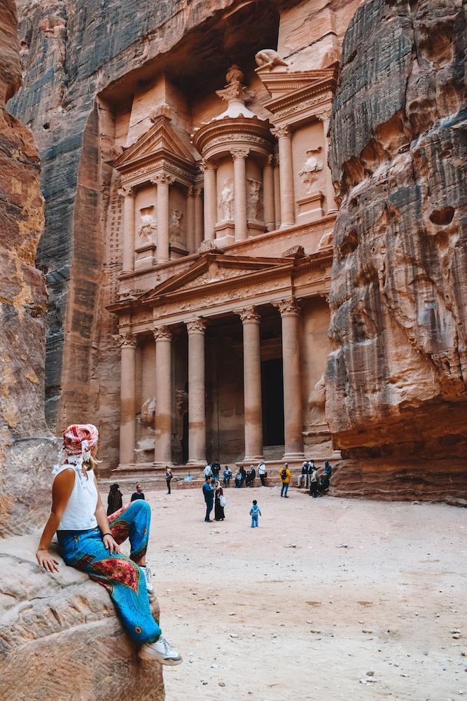 Admiring the Treasury of Petra, Jordan