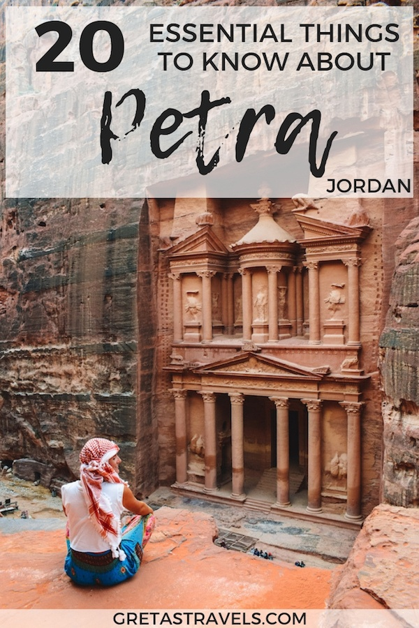 Planning a trip to Petra in Jordan? Discover the 20 essential things you need to know before visiting Petra. #jordan #petra #middleeast #traveladvice #treasury #monastery