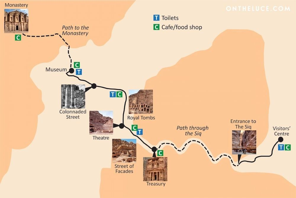 Simplified map of Petra in Jordan by On The Luce