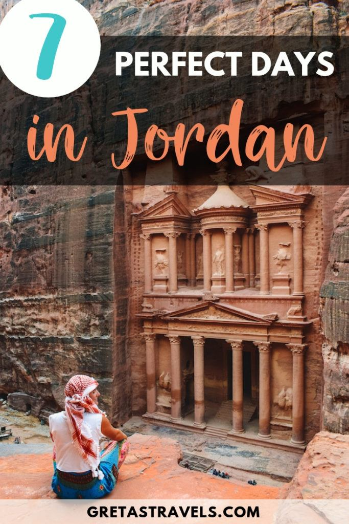"""Photo of a blonde girl overlooking the Treasury of Petra from the lower viewpoint with text overlay saying """"7 perfect days in Jordan"""""""