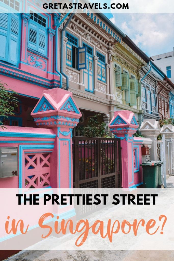 """The colourful houses of Koon Seng Road with text overlay saying """"The prettiest street in Singapore?"""""""