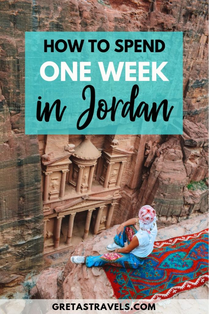 """Photo of a blonde girl overlooking the Treasury of Petra with text overlay saying """"How to spend one week in Jordan"""""""