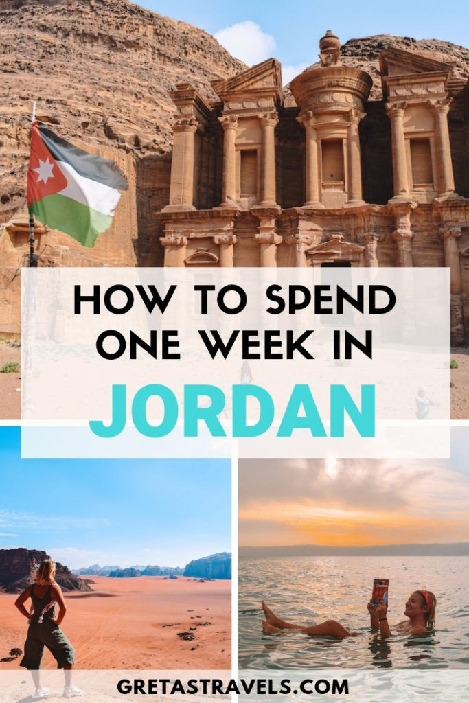 """Collage of the Wadi Rum desert, Petra and the Dead Sea with text overlay saying """"how to spend one week in Jordan"""""""