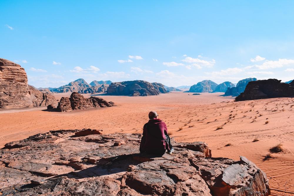 Desert views from the house of Lawrence in the Wadi Rum desert, Jordan