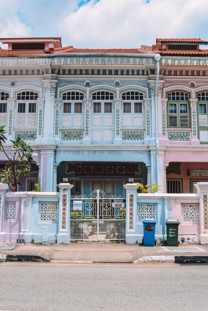 The colourful houses of Koon Seng Road, Singapore