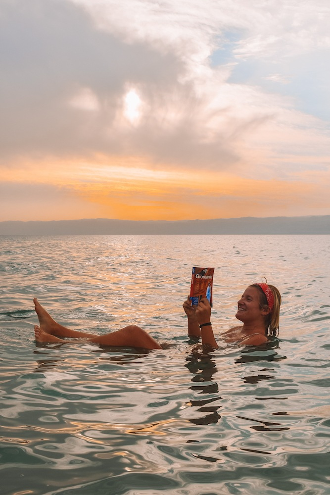 Floating in the Dead Sea, Jordan