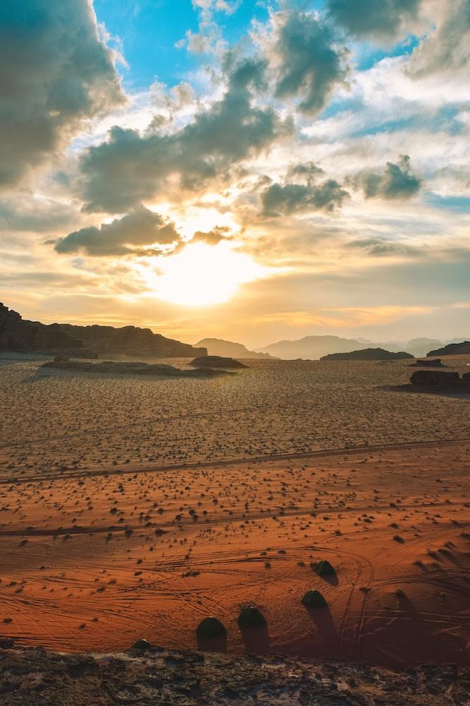 Sunset in the Wadi Rum desert, Jordan