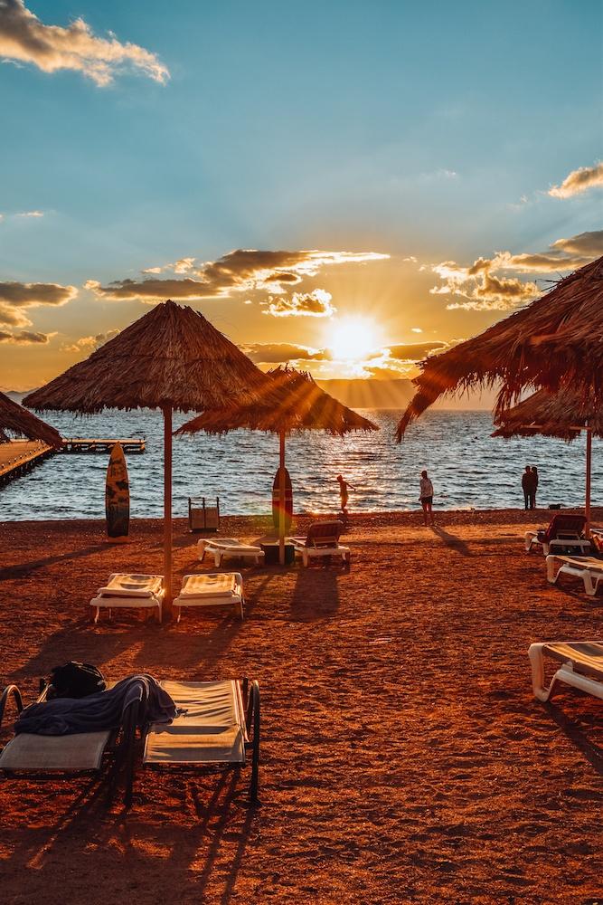Sunset in Aqaba from Berenice Beach Bar, Jordan