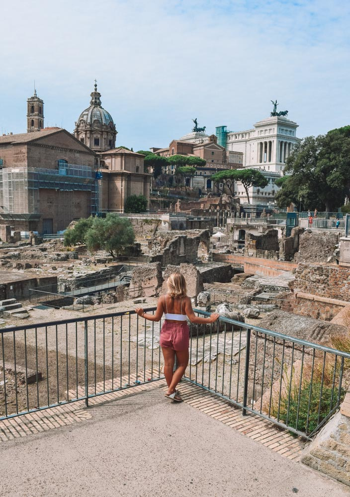 Admiring the view over the Fori Romani in Rome
