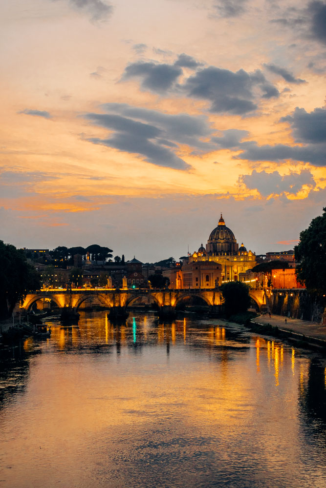 Watching the sunset over the Vatican and Ponte Sant'Angelo from Ponte Umberto in Rome