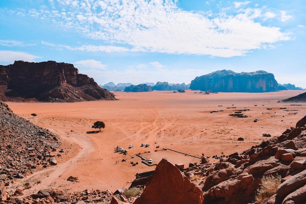 Desert views from Lawrence's spring in the Wadi Rum desert, Jordan