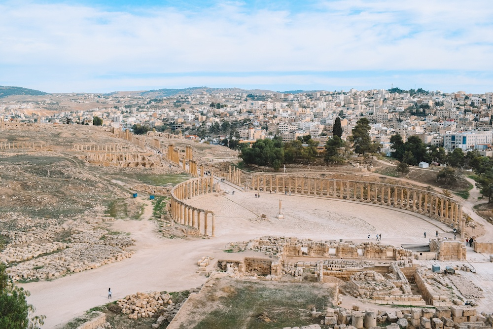 The forum of the archaeological site of Jerash and the new city of Jerash in Jordan