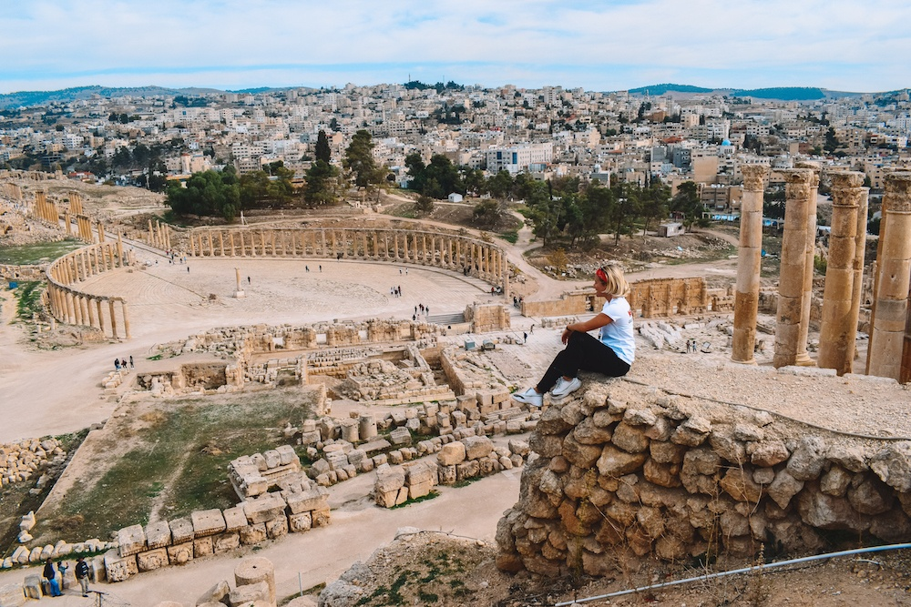 View over the Forum of Jerash in Jordan
