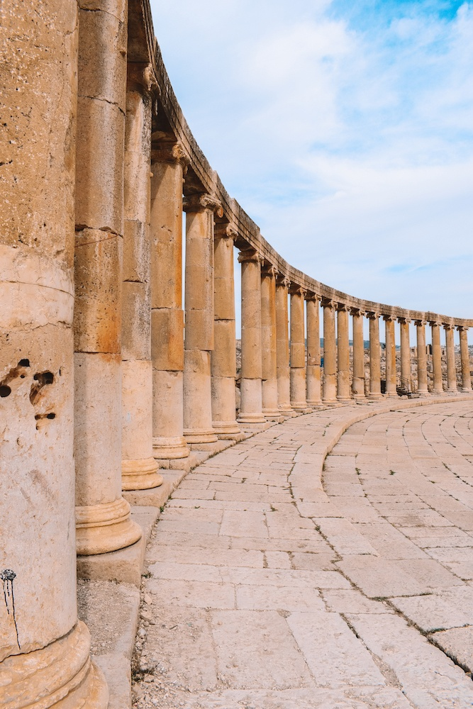 The columns of the Jerash archaeological site in Jordan