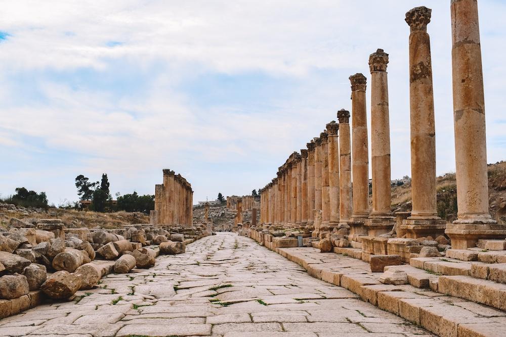 The colonnade in Jerash, Jordan