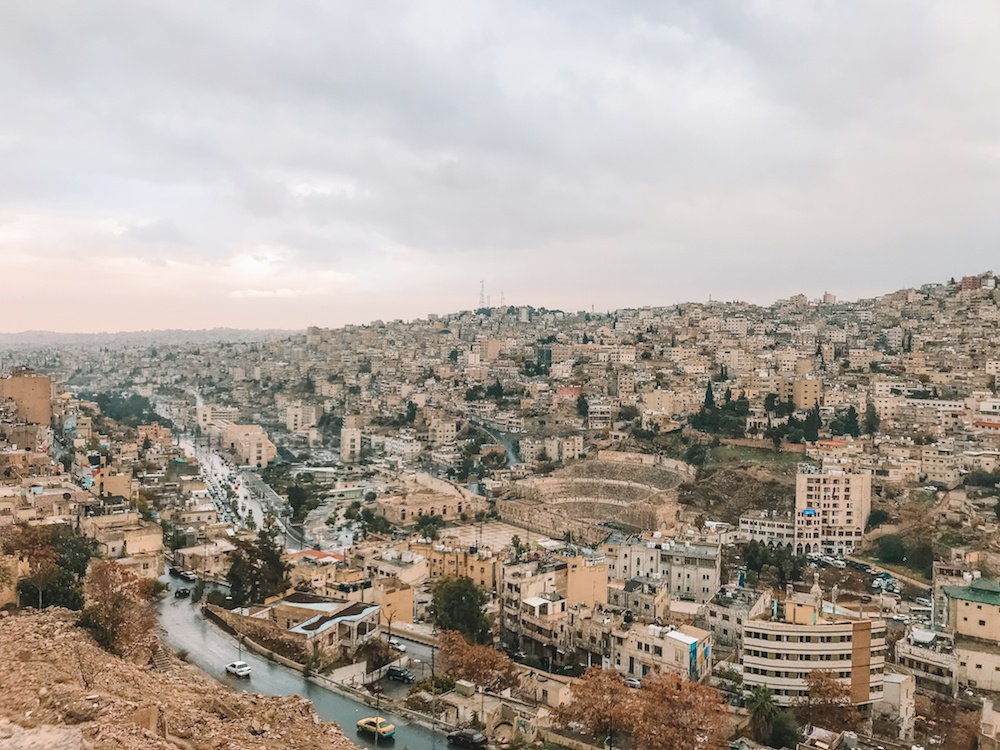 View over Amman and the Roman theatre from the citadel of Amman, Jordan