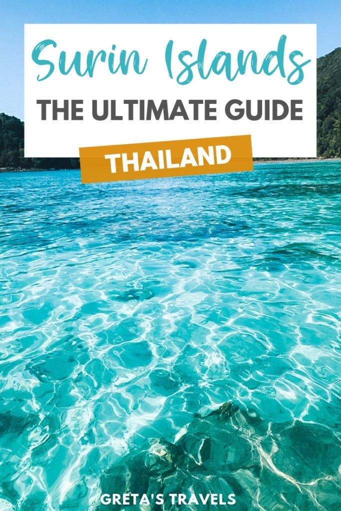 The crystal clear water of the Surin Islands in Thailand with text overlay