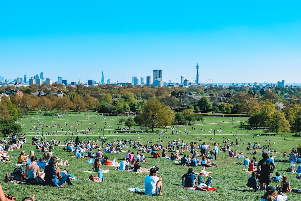View over Regents Park and the London skyline from Primrose Hill