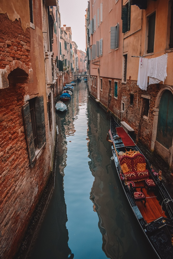 Gondola boats in the canals of Venice