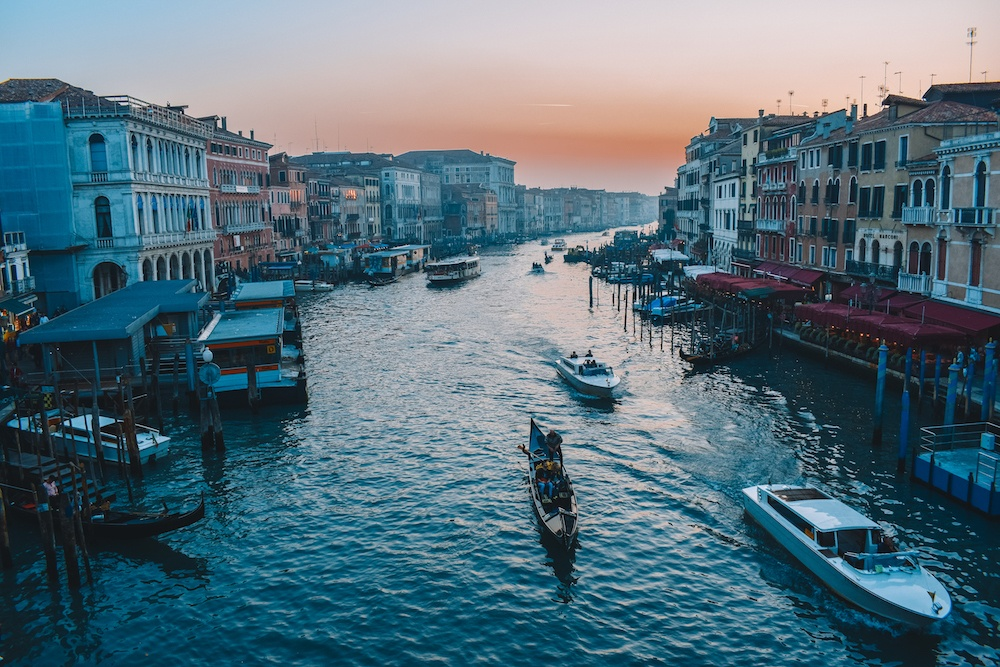 Sunset on the grand canal in Venice