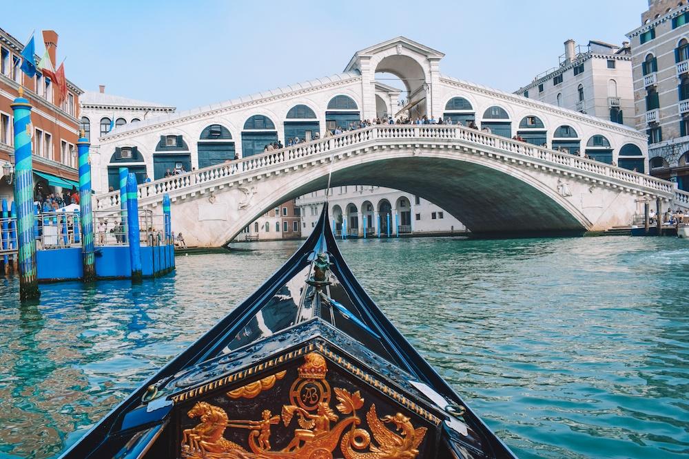 Our gondola ride in Venice took us close to Rialto Bridge